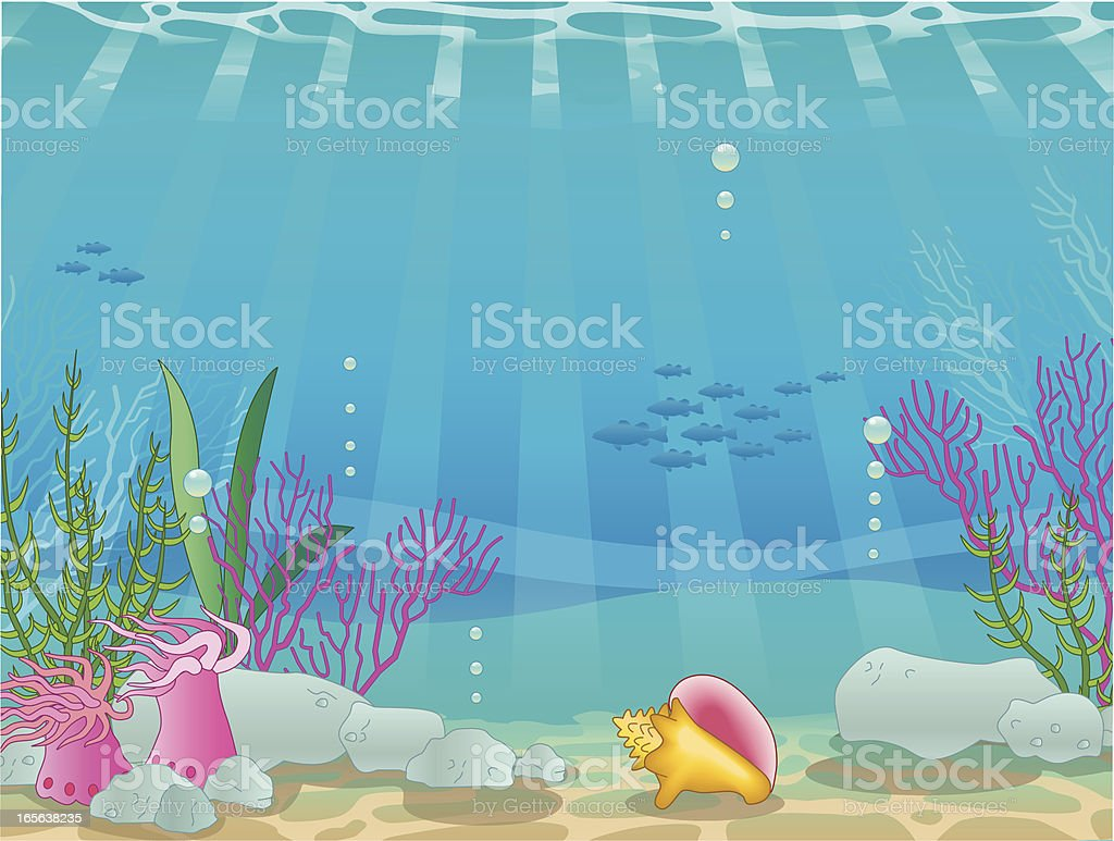 Underwater background of sea animals and bubbles vector art illustration
