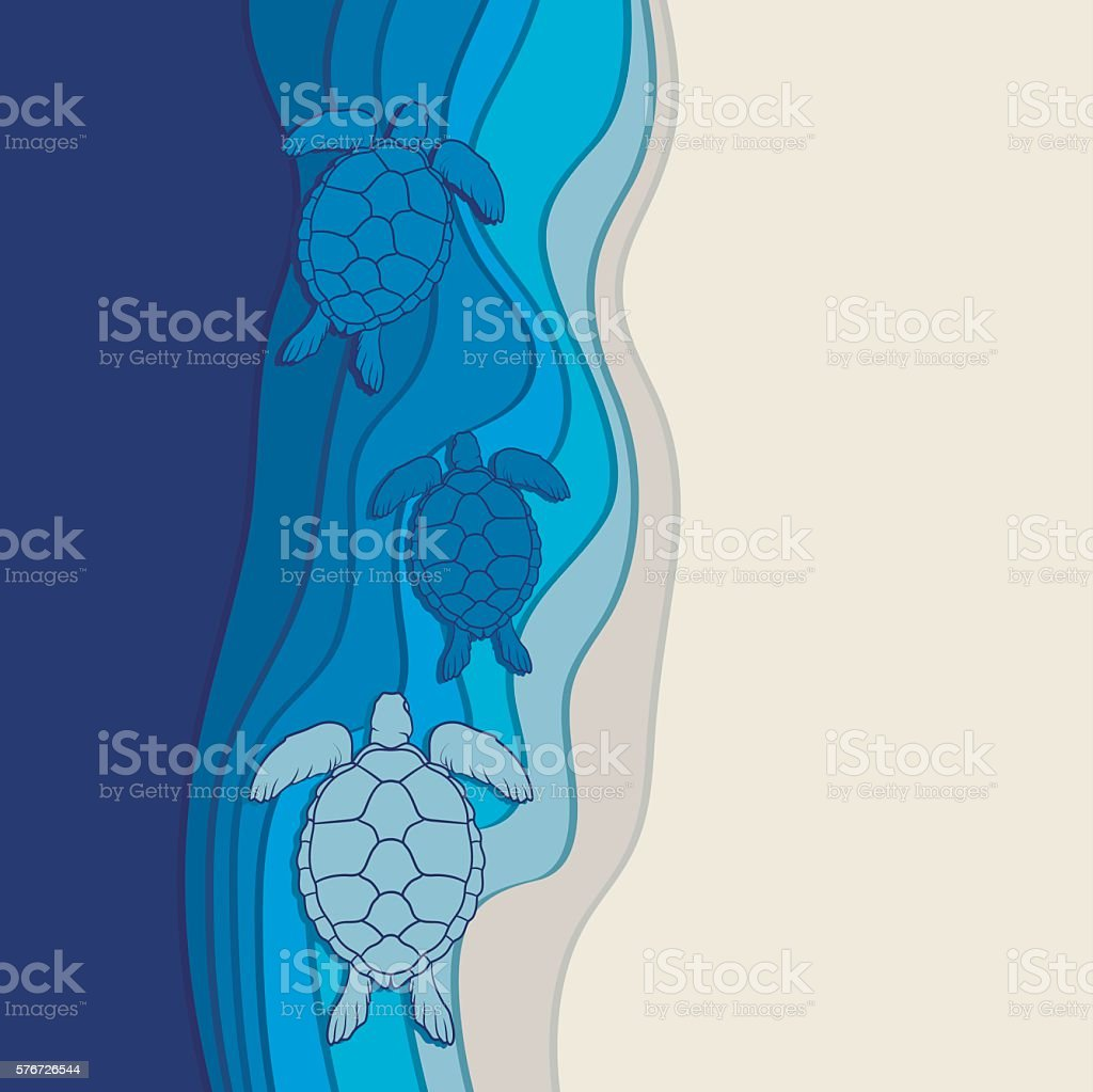 Underwater background with the sea turtles. Vector illustration vector art illustration