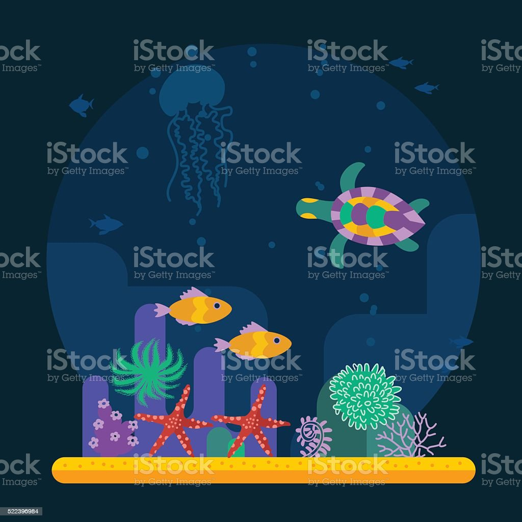 Underwater background with tropical fish and various plant vector art illustration