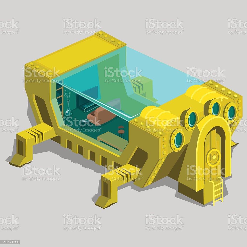 Unterwasser Bunker Mit Wohnzimmer Und Mbel Lizenzfreies Vektor Illustration