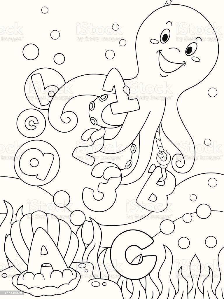 Underwater Coloring Scene royalty-free stock vector art
