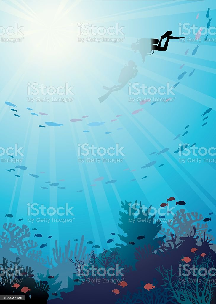 Underwater - coral reef and divers. vector art illustration