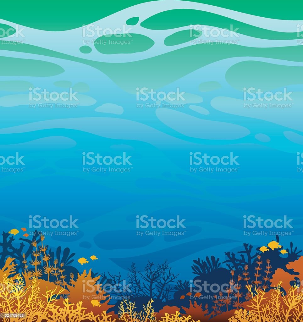 Underwater coral reef and fish. Marine wild life. vector art illustration