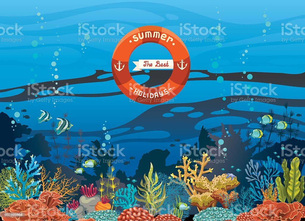 Underwater coral reef and sea - summer holiday. vector art illustration