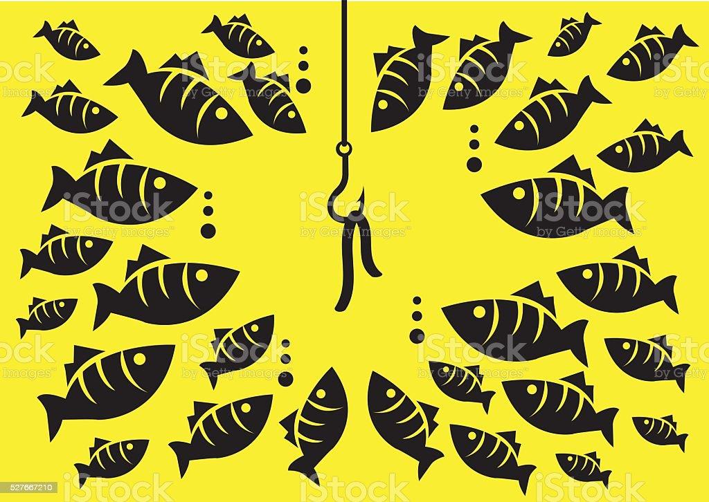 Underwater Fish Surrounding Hook with Bait Vector Illustration vector art illustration