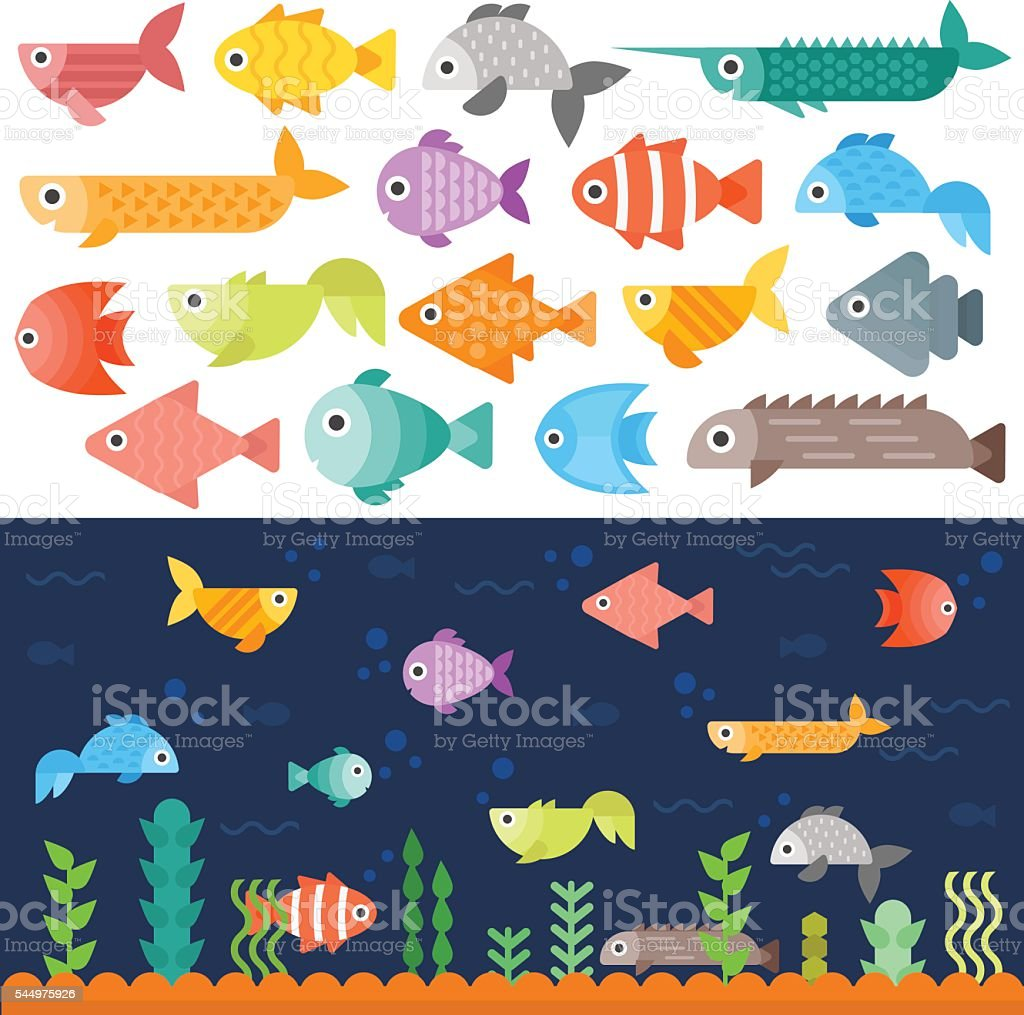 Underwater fishes vector set. vector art illustration