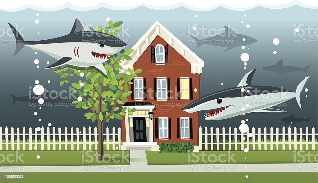 Underwater Home Mortgage vector art illustration