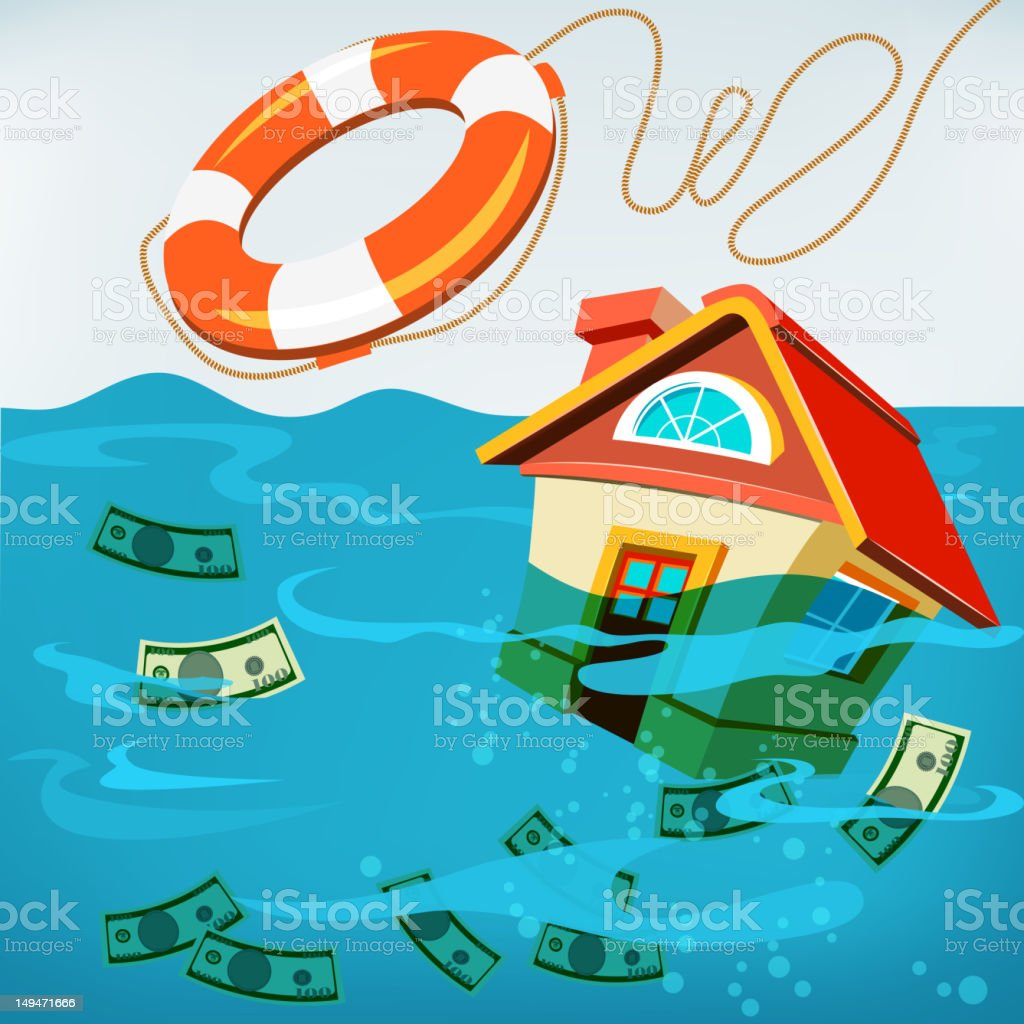 Underwater House Rescue royalty-free stock vector art