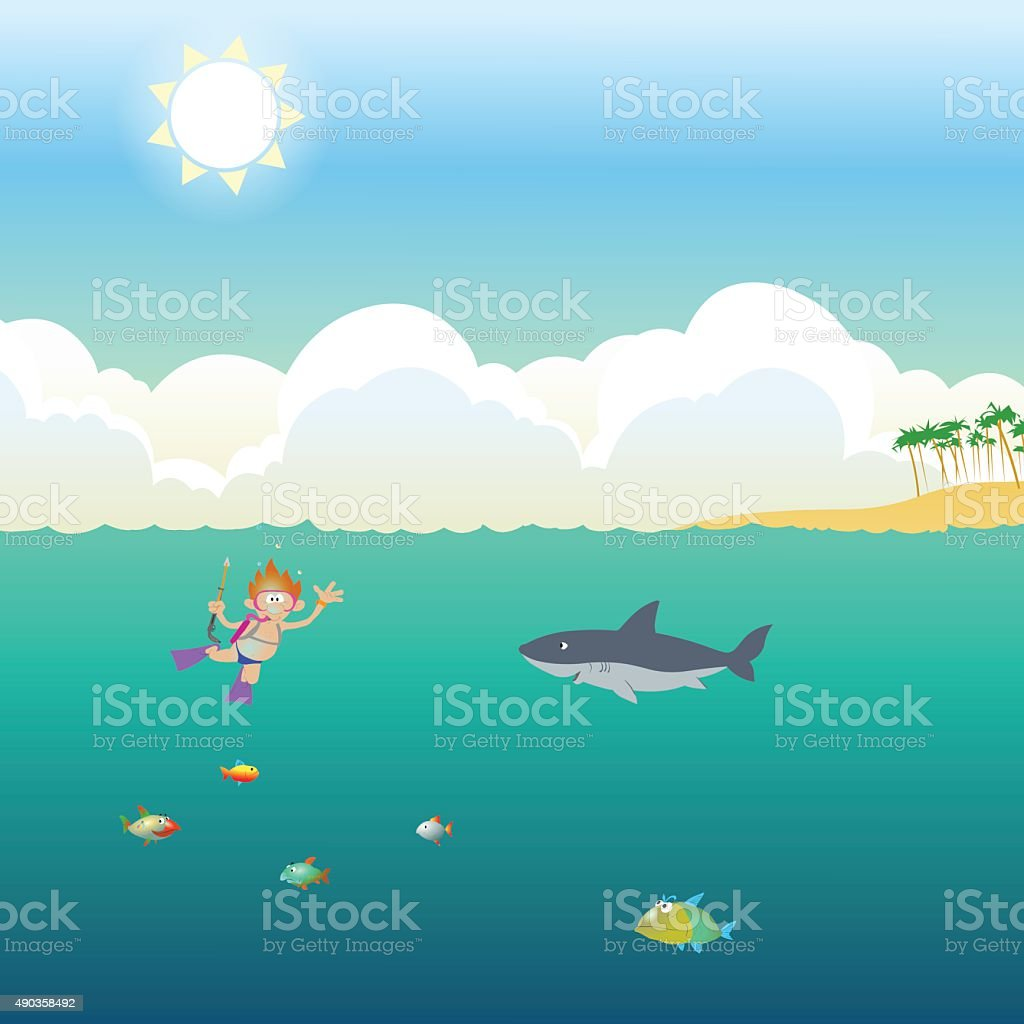Underwater hunting with a camera gun. Cartoon style. vector art illustration