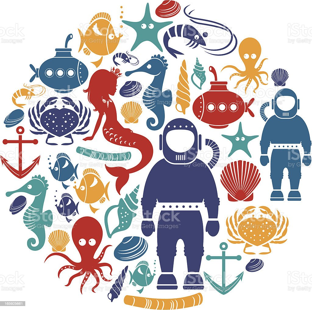 Underwater Icon Set vector art illustration