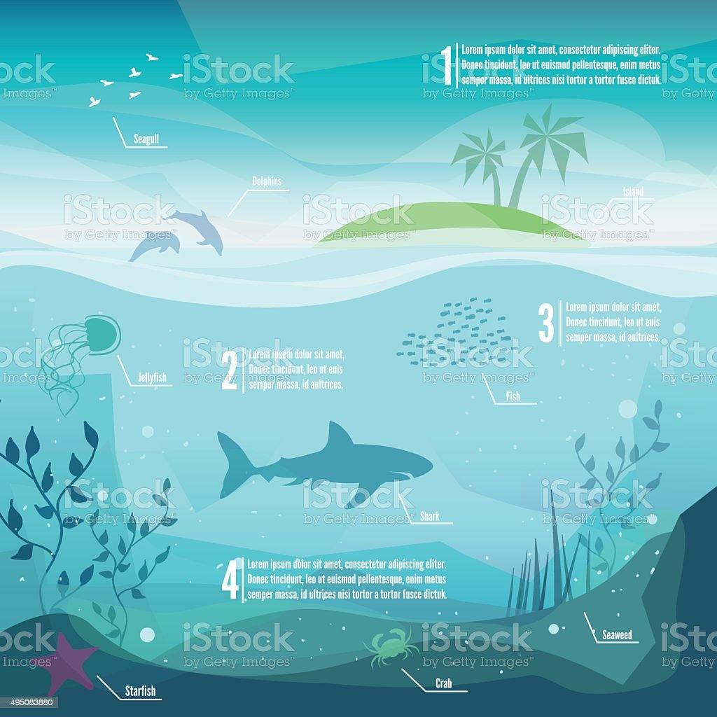 Underwater infographics vector art illustration