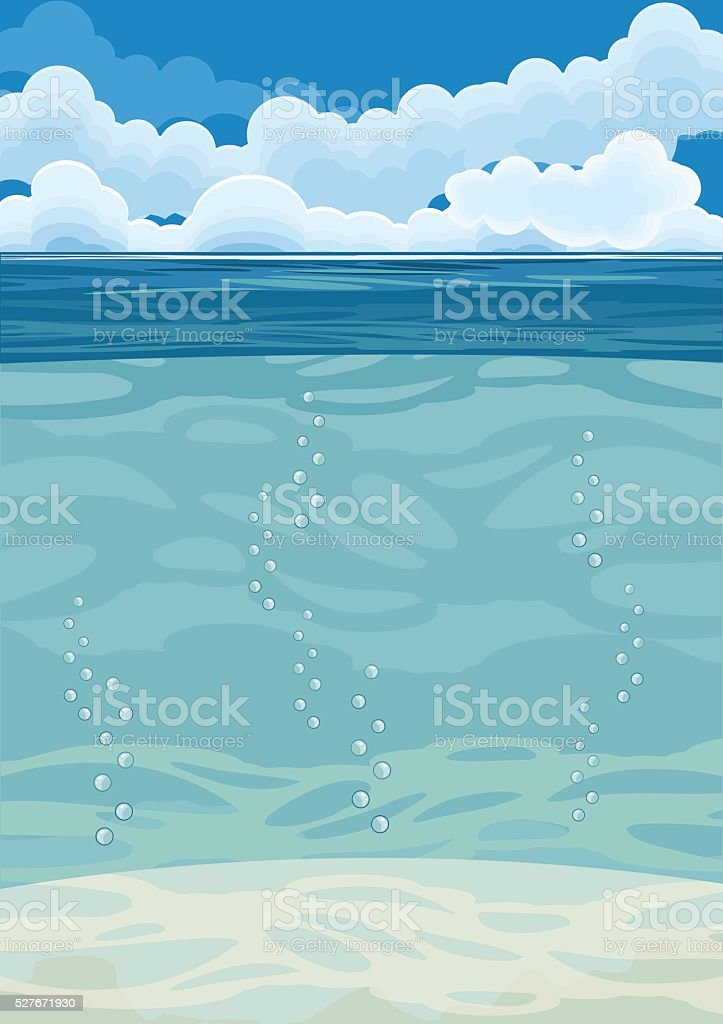 underwater landscape background vector art illustration