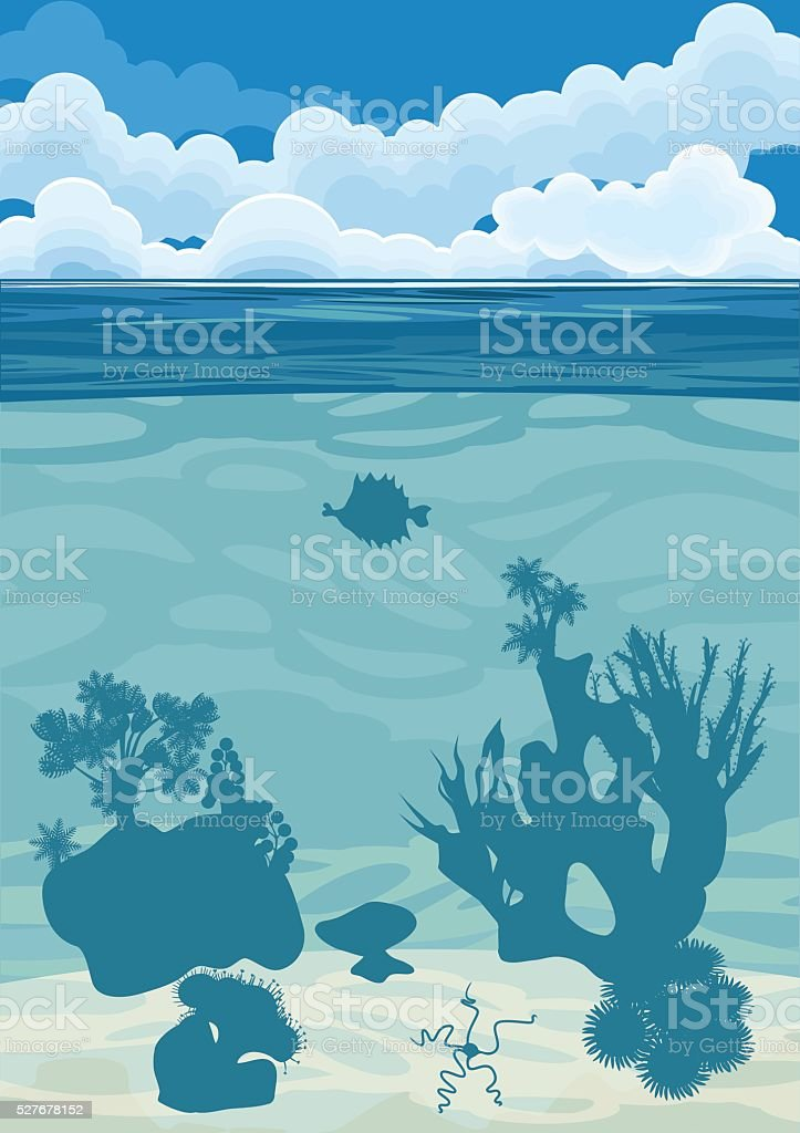 underwater landscape background with silhouettes of coral vector art illustration