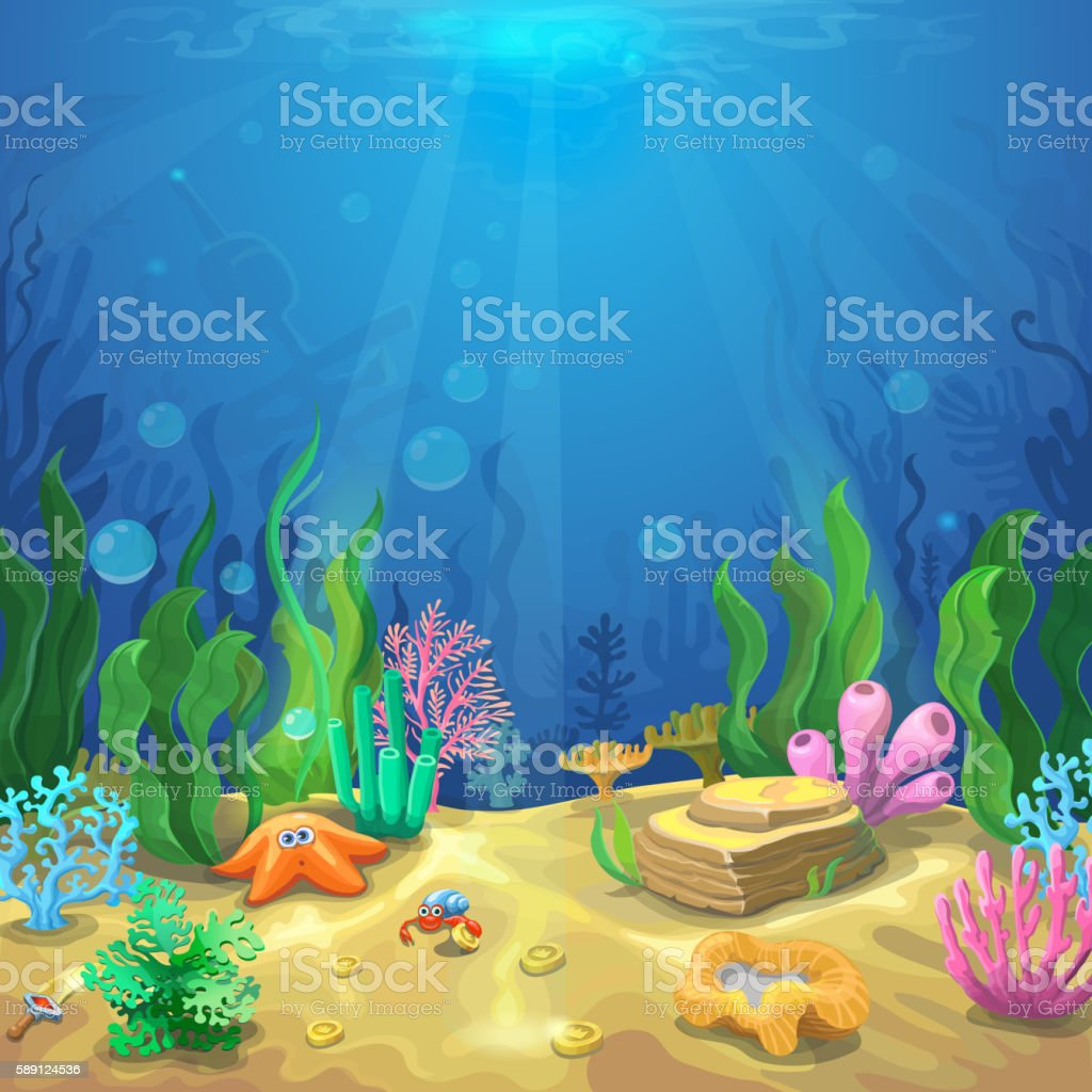 Underwater landscape. The undersea world with different inhabitants vector art illustration