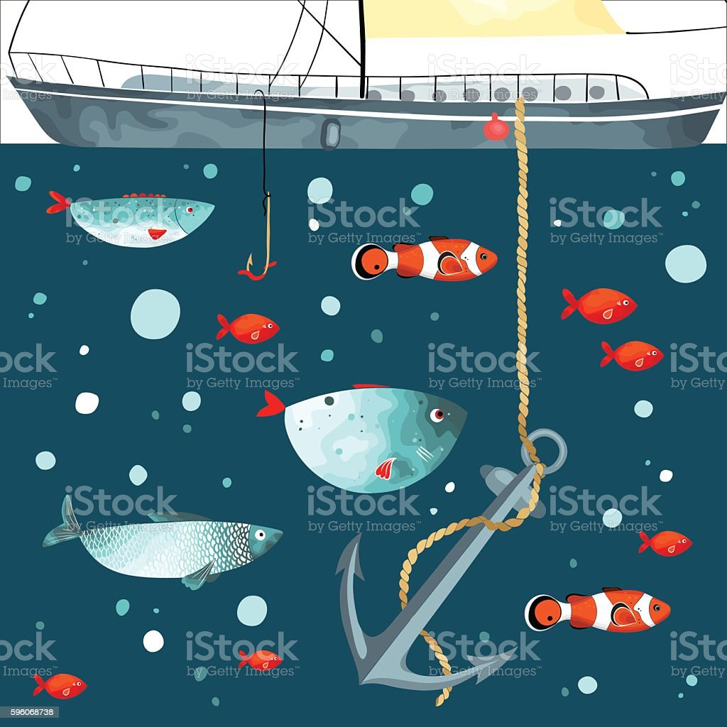 Underwater life. Funny fishes, anchor and part of ship vector art illustration
