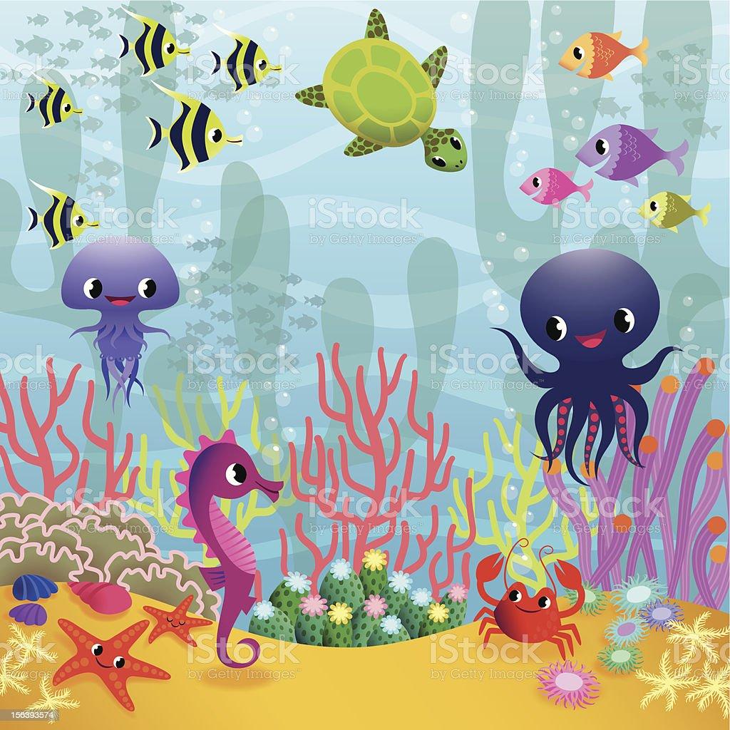 Underwater life. vector art illustration