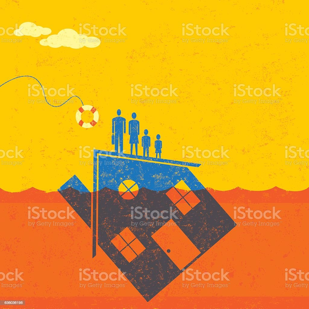 Underwater Mortgage help vector art illustration