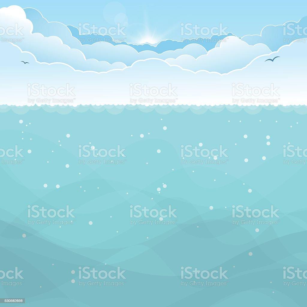 Underwater ocean background vector art illustration