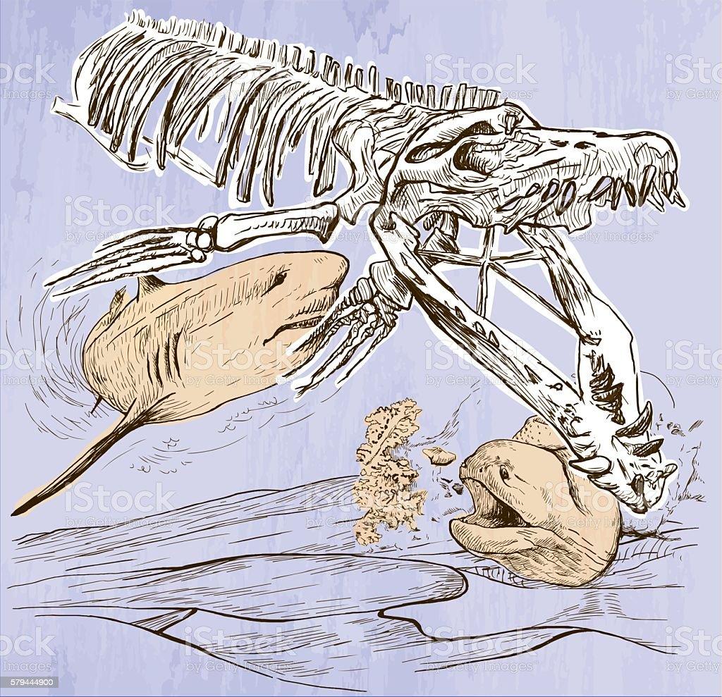 Underwater Prehistory - An hand drawn vector vector art illustration