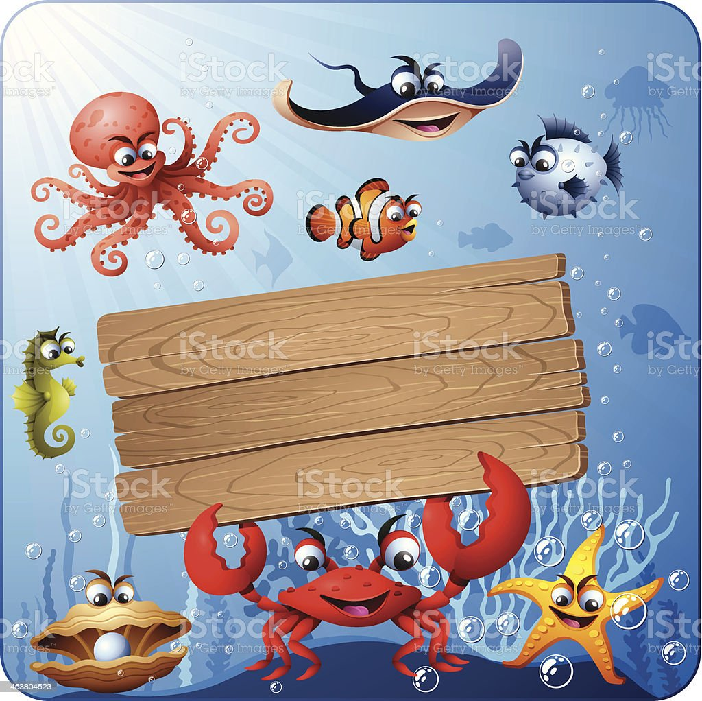 Underwater Scene and Wood Sign royalty-free stock vector art
