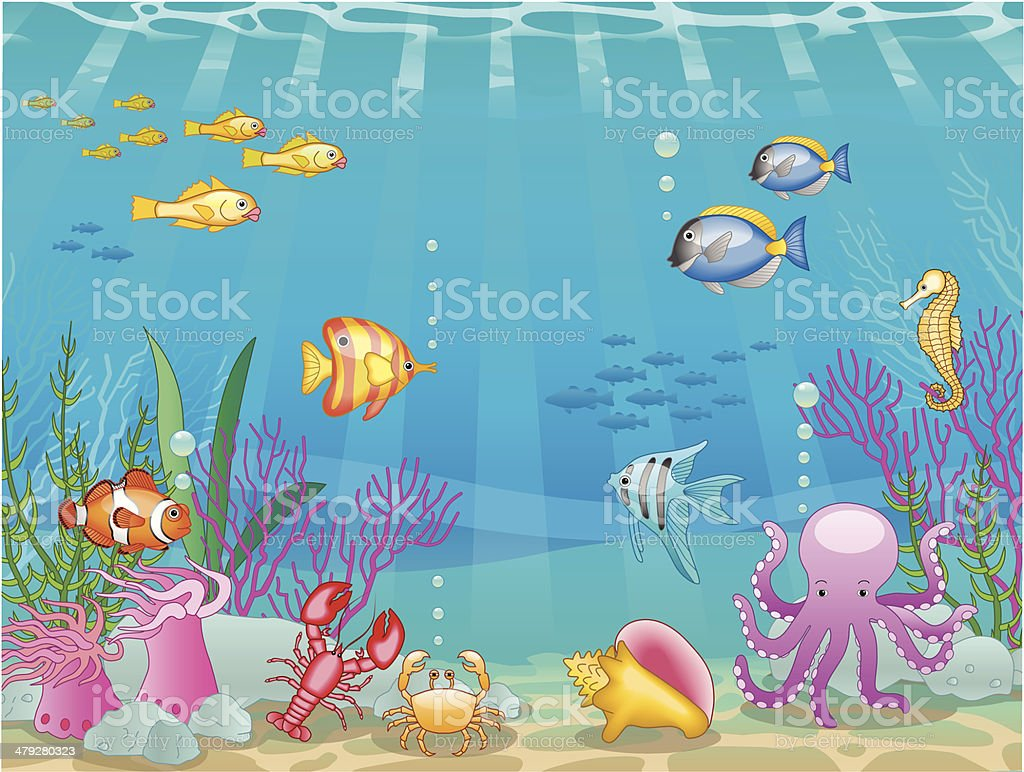underwater scene vector art illustration