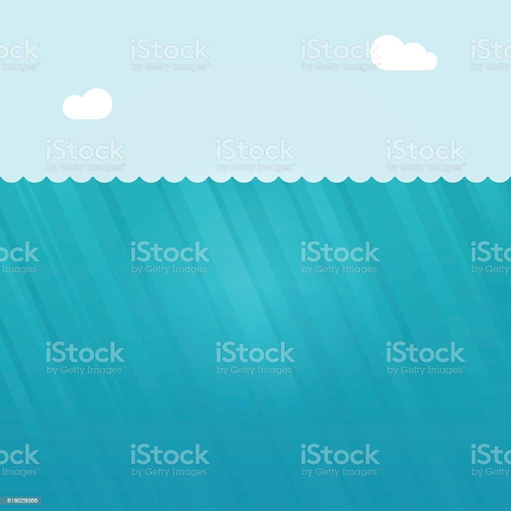 Underwater scene vector illustration, deep under water ocean background vector art illustration