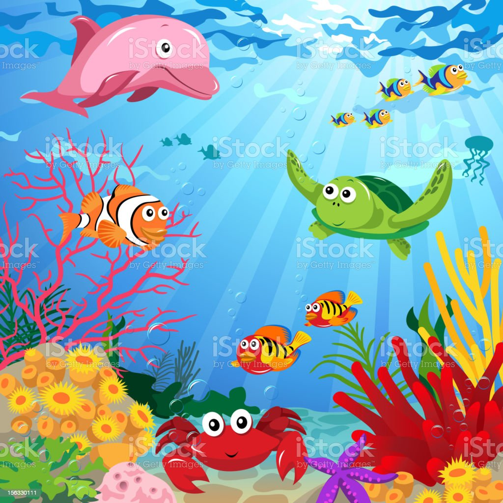 Underwater Scene with Sea Life royalty-free stock vector art