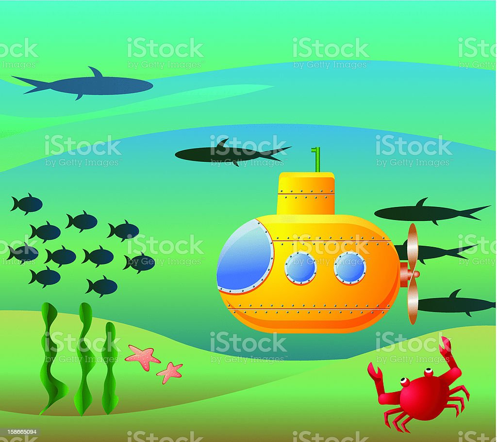 Underwater Scene with Submarine royalty-free stock vector art