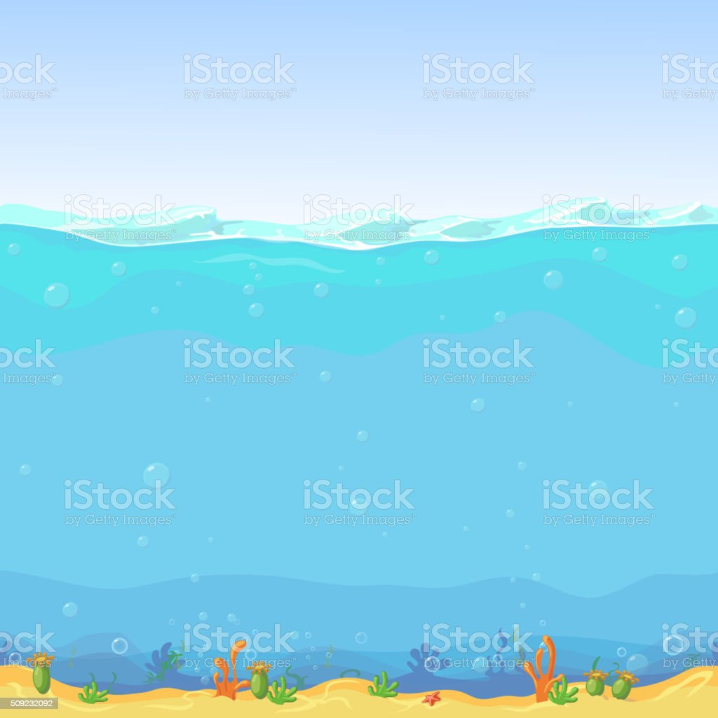 Underwater seamless landscape, cartoon background for game design vector art illustration