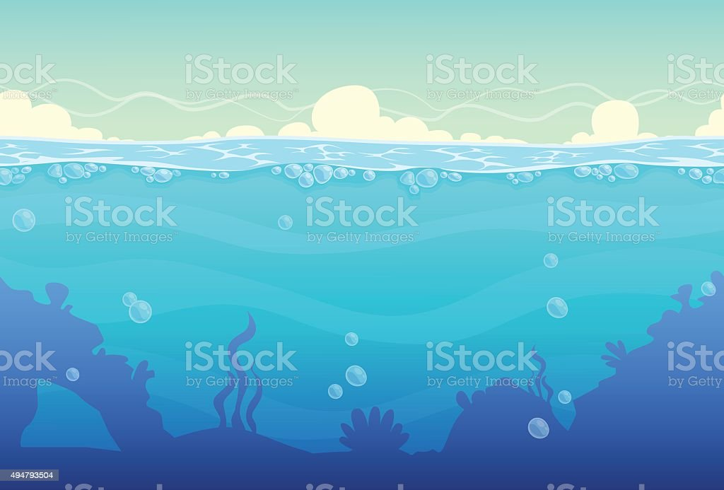 Underwater seamless landscape vector art illustration