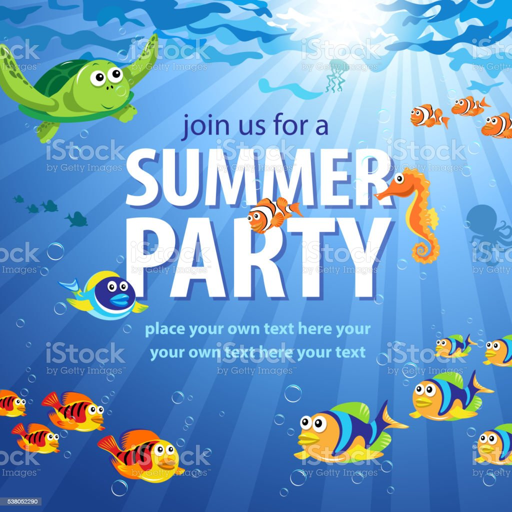 Underwater Summer Party vector art illustration
