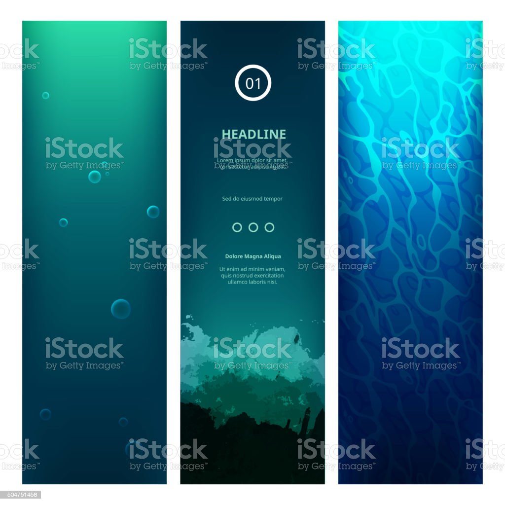 Underwater View Blue Background vector art illustration