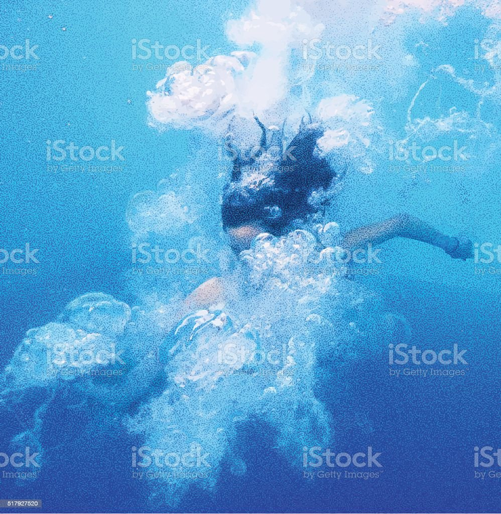 Underwater View of Asian Girl Jumping Into Pool vector art illustration