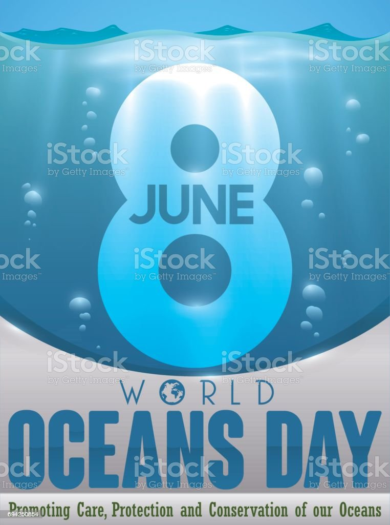 Underwater View Of Number Eight To Commemorate World Oceans Day - Number of oceans