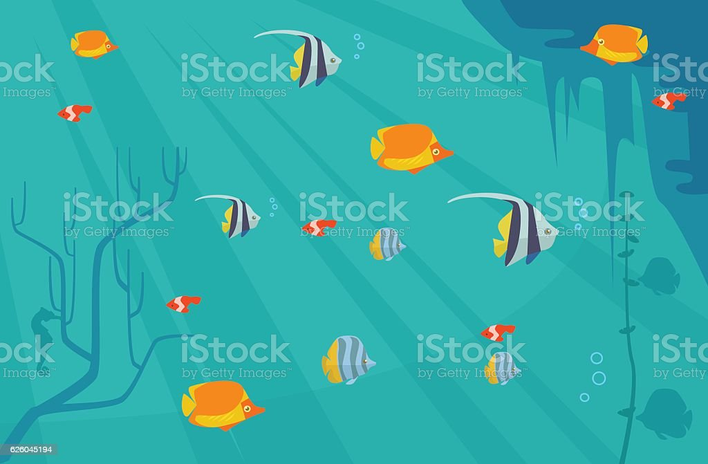 Underwater with fish. Vector flat cartoon illustration vector art illustration