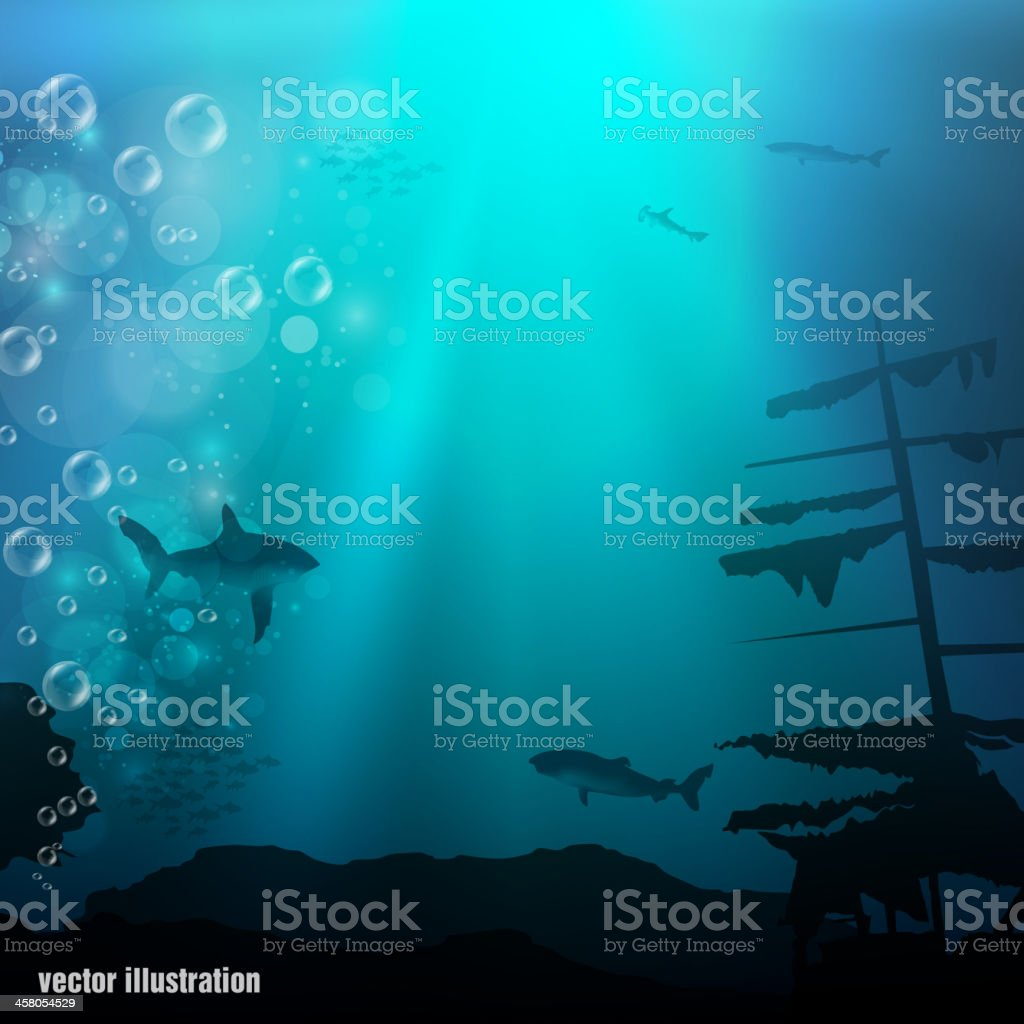 underwater world vector art illustration