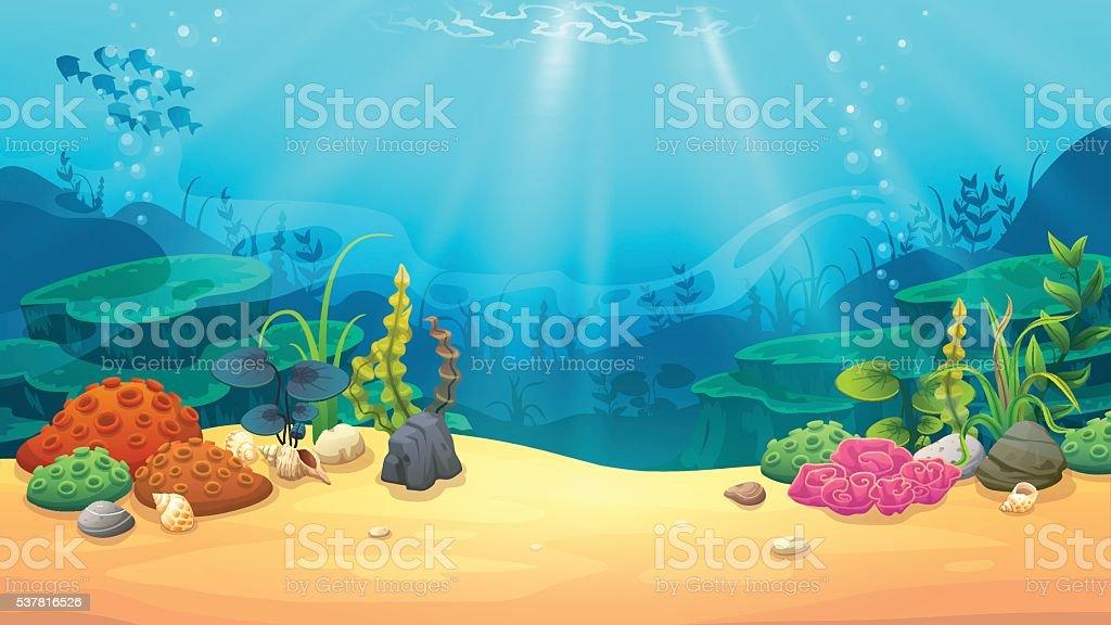 Underwater world vector art illustration