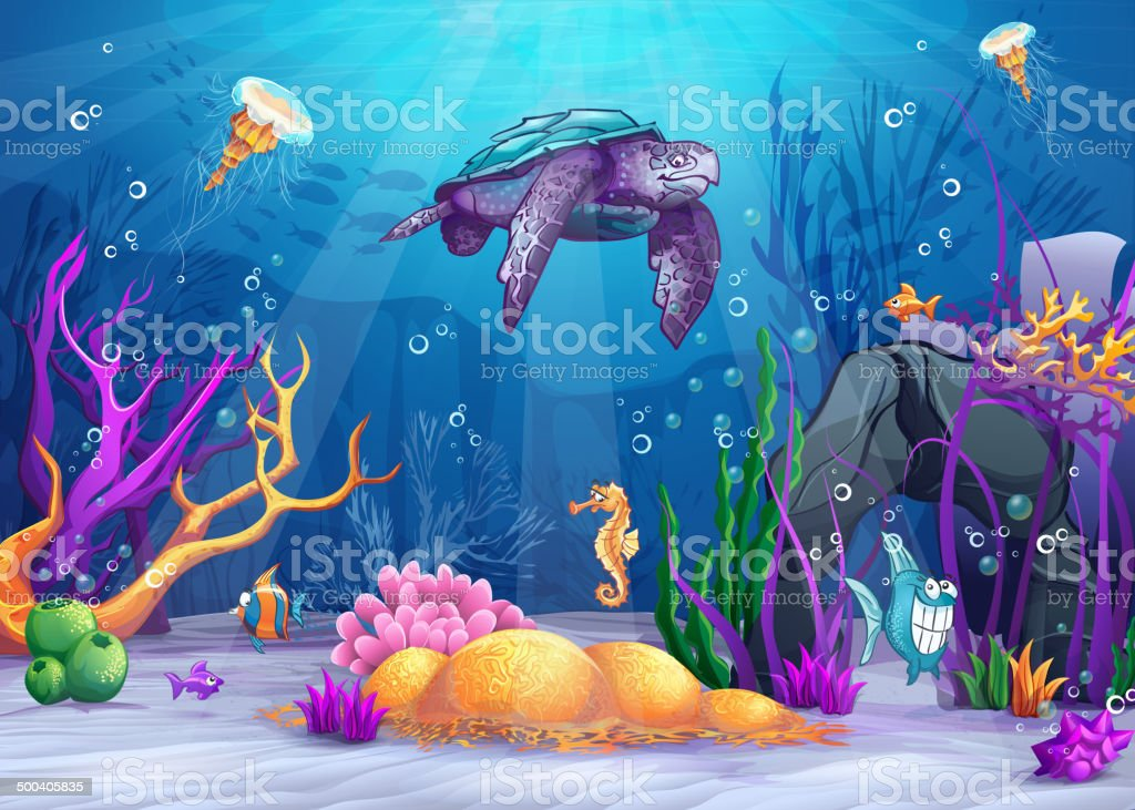 underwater world with a funny fish and turtle vector art illustration