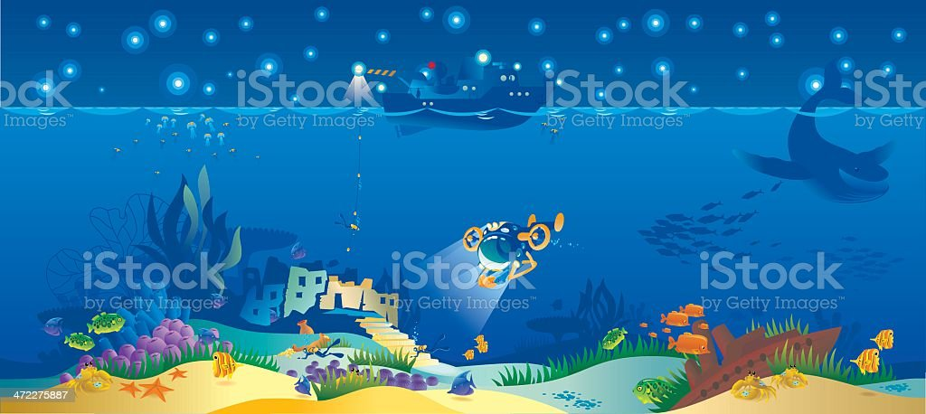 Underwater World-panoramic. vector art illustration