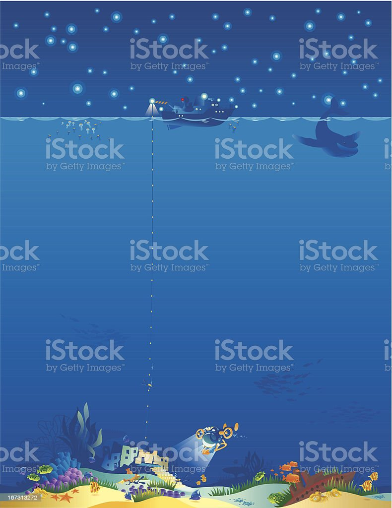 Underwater World-vertical. vector art illustration