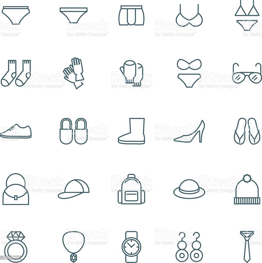 Underwear, shoes and accessories vector icons set vector art illustration