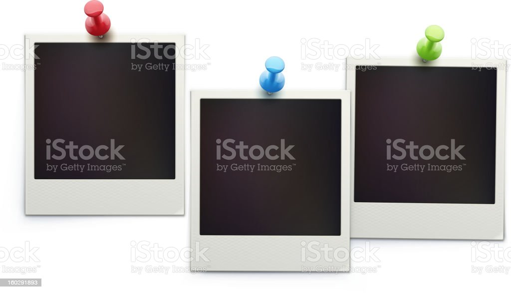 Undeveloped Polaroids tacked on to a wall royalty-free stock vector art