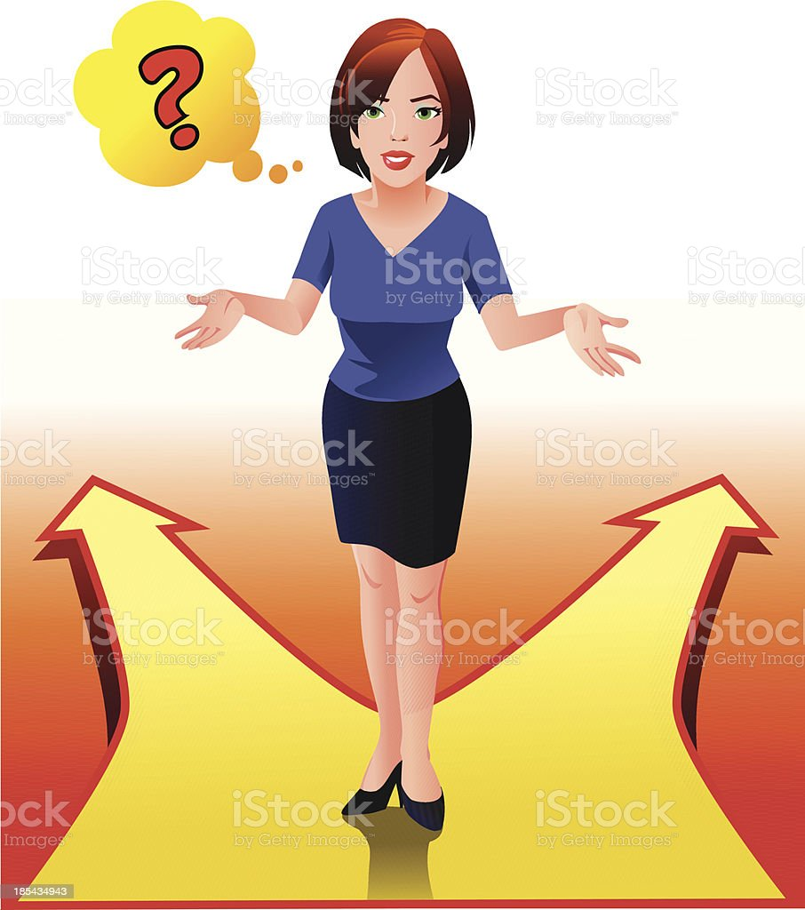 Undicided Woman at the Crossroads royalty-free stock vector art