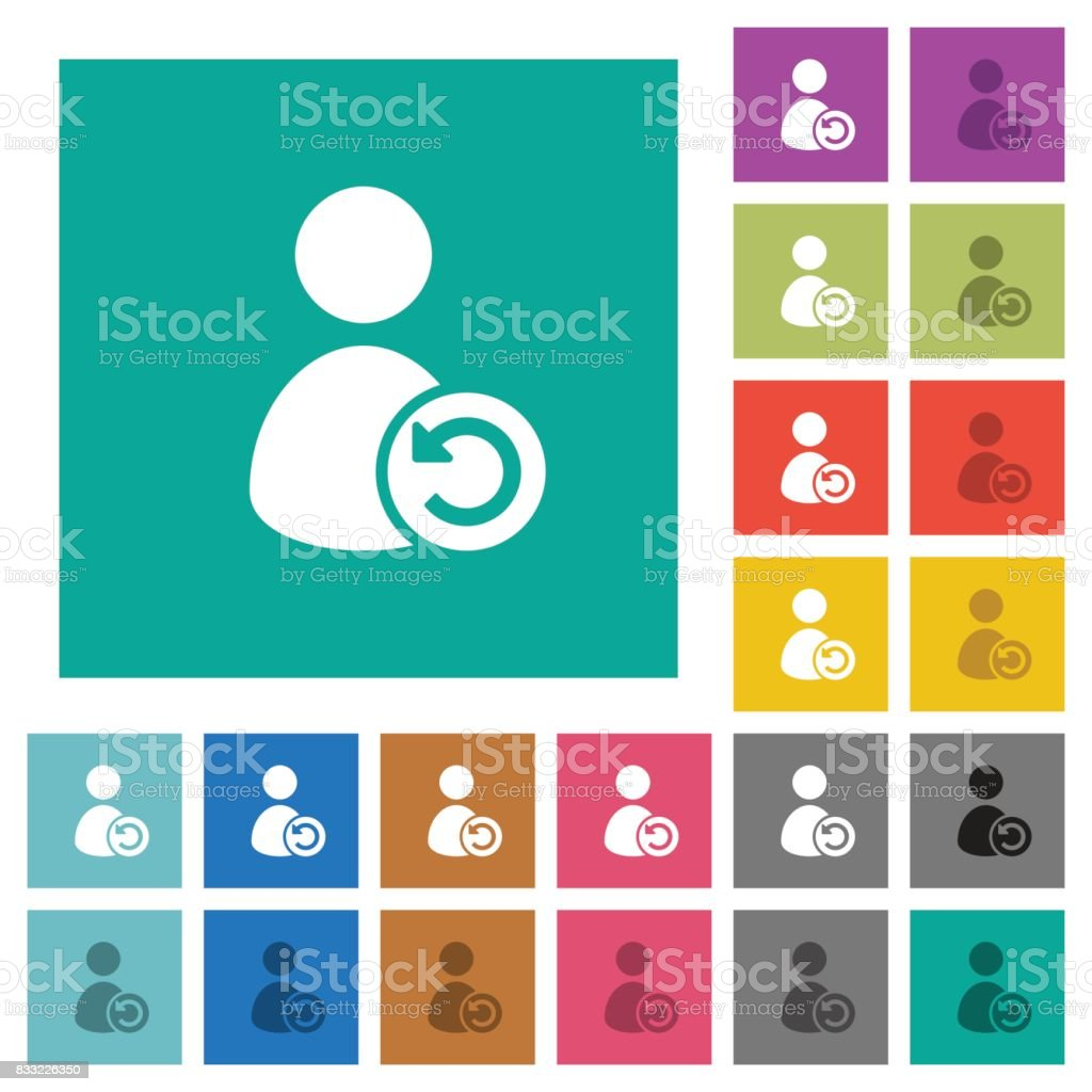 Undo user account changes square flat multi colored icons vector art illustration