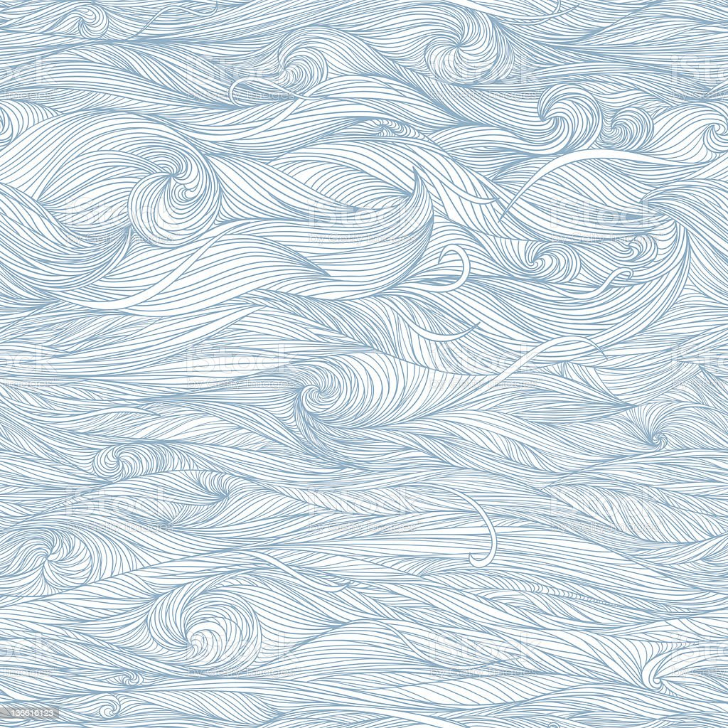 Undulating hand-sketched waves drawn in blue ink royalty-free stock vector art