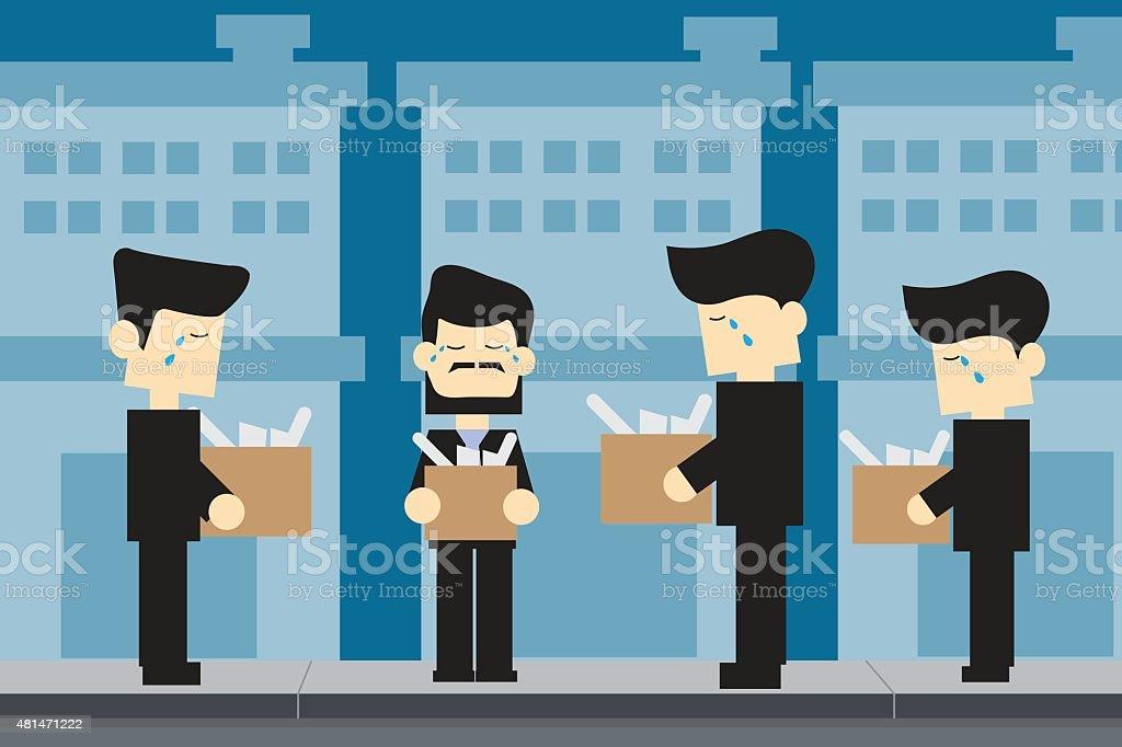 MEN unemployed cartoon design vector art illustration