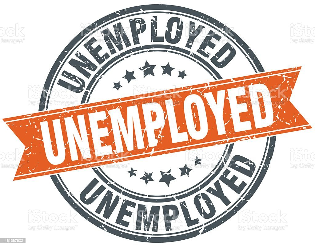 unemployed round orange grungy vintage isolated stamp vector art illustration