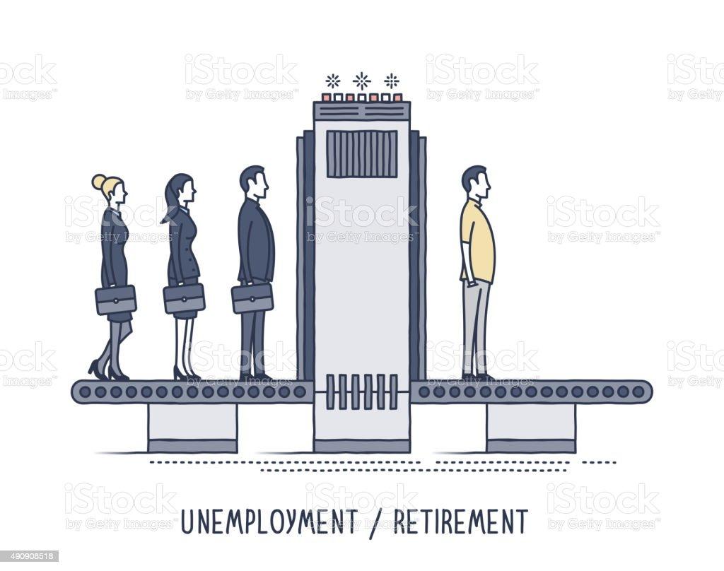 Unemployment & Retirement vector art illustration