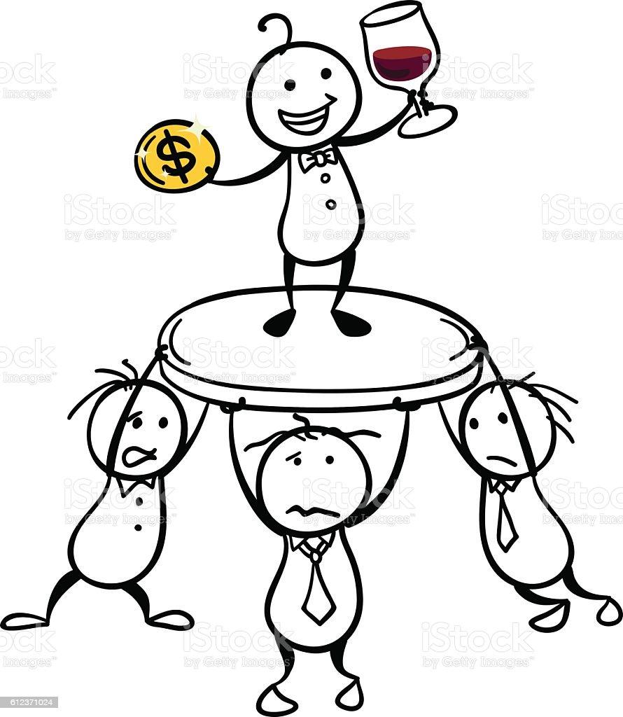 Unfair Society vector art illustration