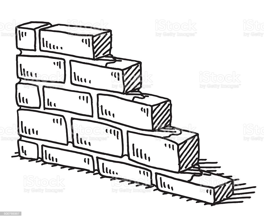 Unfinished Brick Wall Drawing vector art illustration
